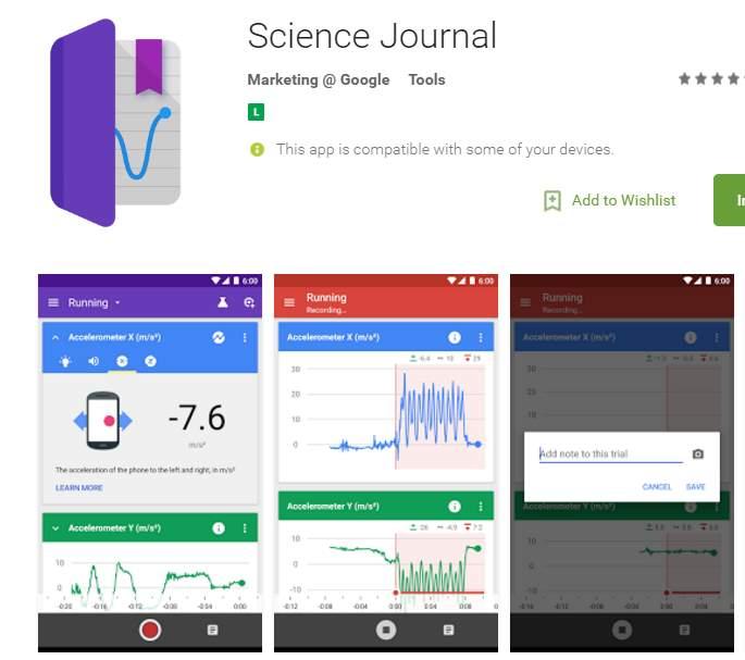 app para medir datos científicos desde el móvil
