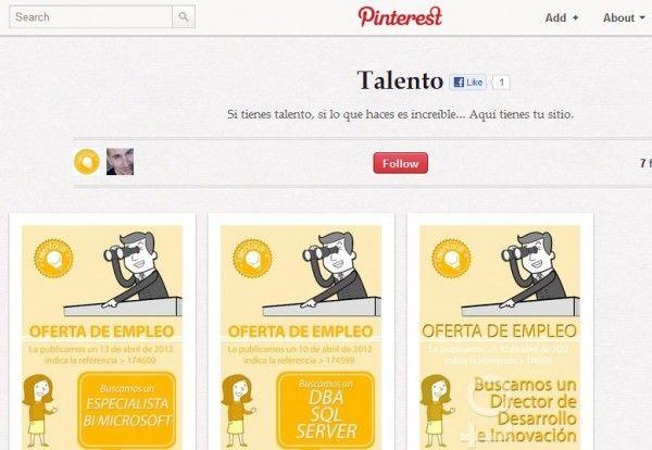 Talentous transforma ofertas de empleo en infografías y las publica en Pinterest