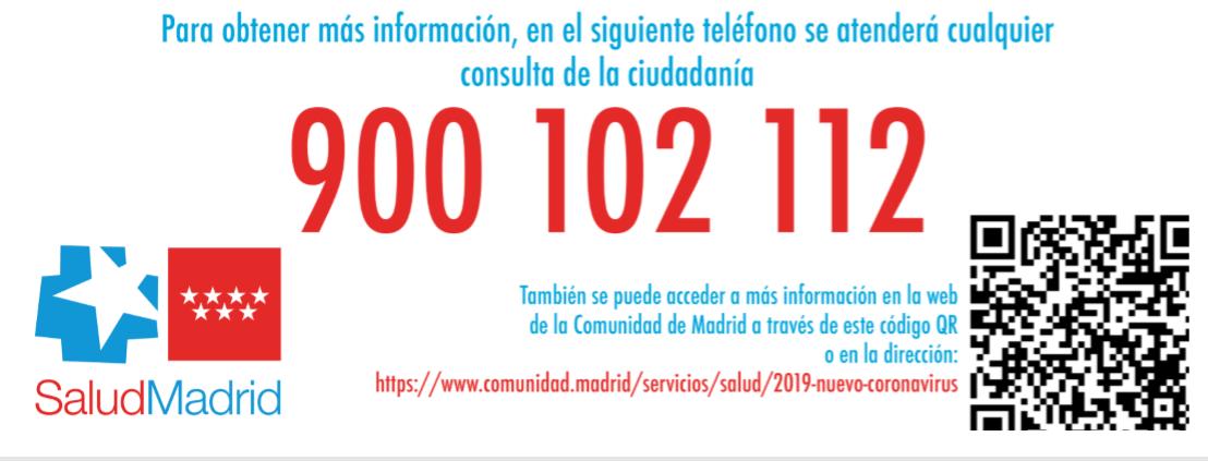 Información Comunidad de Madrid sobre Coronavirus